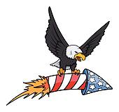 bald eagle holding a Firecrscker