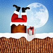 Santa Claus stuck in a chimney