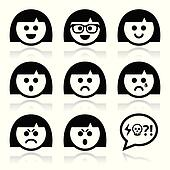 Smiley girl or woman faces, avatar