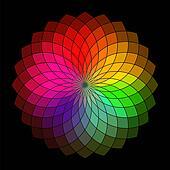 Rainbow style vector wheel. Color Creative Abstract Flower