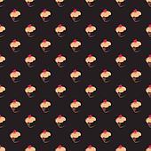 Seamless dark vector cake pattern