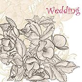 Elegant wedding  background with hand drawn  flowers