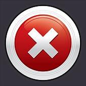 No button. Cancel icon. Red round sticker.