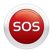 Sos button. Red round sticker.