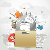 Shopping time concept. Around the world seasonal discount tour i