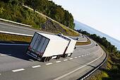 truck driving a scenic freeway rout