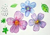 watercolor drawing decorative flower