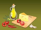 Food ingredients on green cooking background