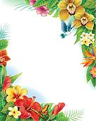 Background from tropical flowers and leaves