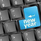 Computer Keyboard with Happy New Year 2013 Key