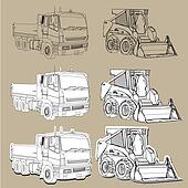 Earth moving equipment trucks