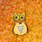 Cute cartoon owl on Halloween background