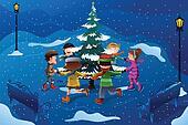 Children skating around a Christmas tree