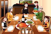Family having a Thanksgiving dinner