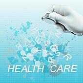 Stethoscope in hand with health care word as medical concept