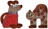 Cartoons cat and dog