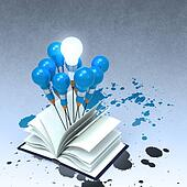 drawing idea pencil and light bulb concept outside the book with splash colors as creative concept