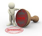 3d man and approved rubber stamp