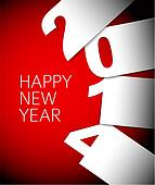 Red and white Happy New Year 2014 vector card
