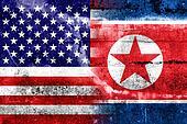 USA and North Korea Flag