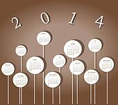 Calendar for 2014 year with circles