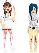 Mad Nurse and Demented Woman