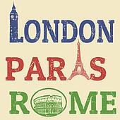 London, Paris and Roma grunge stamps