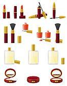 set icons cosmetics illustration