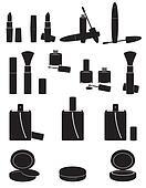set icons cosmetics black silhouette illustration