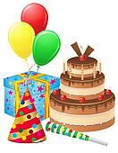 set icons for birthday illustration