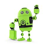 Android  with shopping bag.