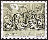 Nativity scene postage stamp bis
