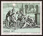 Nativity scene postage stamp ter