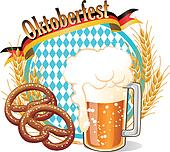 Round Oktoberfest Celebration banner with beer, pretzel,wheat ears