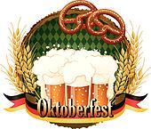 Woody frame Oktoberfest Celebration design with beer and pretzel