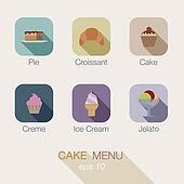 Cake Candy shop vector icon menu design. Apps buttons.