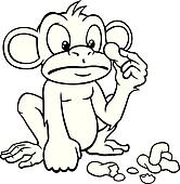 Black and white cartoon monkey with peanuts