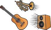 trumpet, guitar and speaker