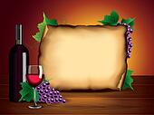 Wine bottle, glass, grapes and blank paper