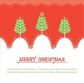 Christmas card.Vector red illusrtration with trees and snow