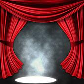 Dramatic theater stage with spotlights