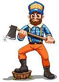 A lumberjack stepping on a stump