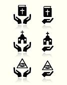 Religion icons - hands with bible,