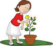Vector of girl picking up flower.