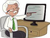 Vector of senior man pointing at monitor screen.