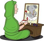 Vector of woman worshipping lord Ganesha.