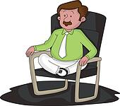 Vector of worried businessman with legs crossed on chair.