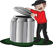 Vector of man opening barrel's lid.