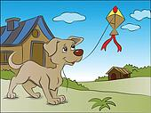 Vector of dog flying a kite.