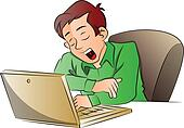Vector of businessman yawning while using laptop.